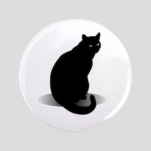 "Basic Black Cat 3.5"" Button"