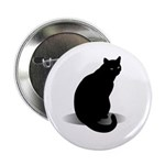 "Basic Black Cat 2.25"" Button (100 pack)"