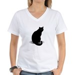 Basic Black Cat Women's V-Neck T-Shirt