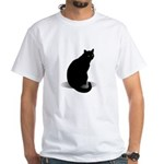 Basic Black Cat White T-Shirt