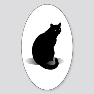 Basic Black Cat Sticker (Oval)