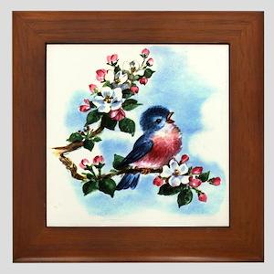 Vintage Bluebird Framed Tile