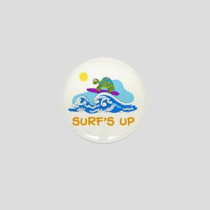 Surfing Turtle Mini Button