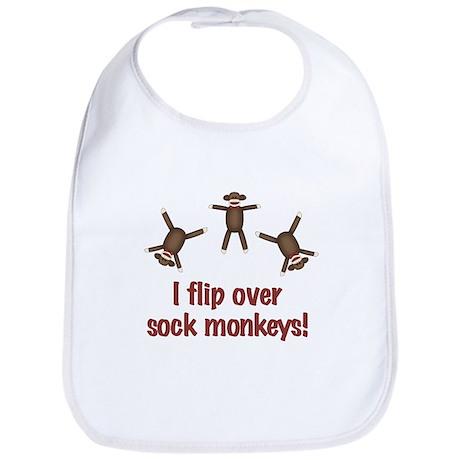 Flip Over Sock Monkeys Bib