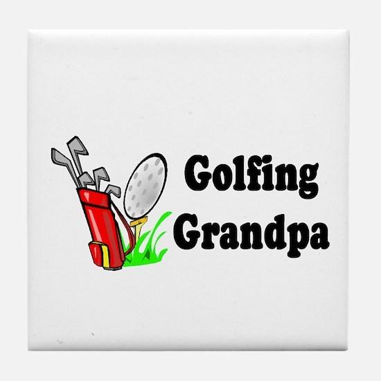 Golfing Grandpa Tile Coaster
