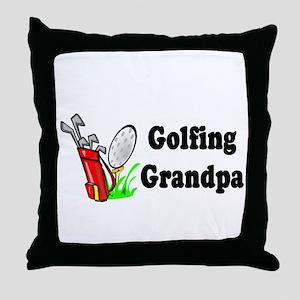Golfing Grandpa Throw Pillow