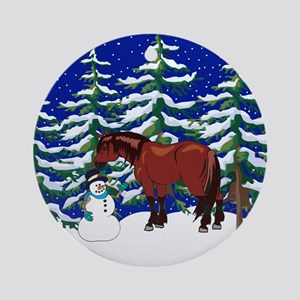 Winter Clydesdale Ornament (Round)