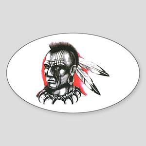 Mohawk Indian Tattoo Art Oval Sticker