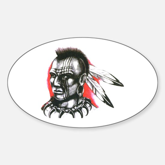Mohawk Indian Tattoo Art Oval Decal
