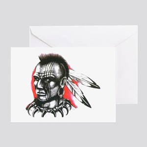 Mohawk Indian Tattoo Art Greeting Card