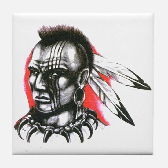 Mohawk Indian Tattoo Art Tile Coaster