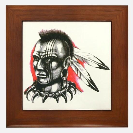 Mohawk Indian Tattoo Art Framed Tile
