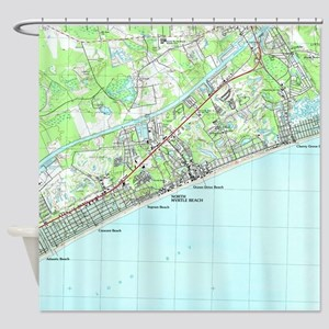 Map of North Myrtle Beach South Car Shower Curtain