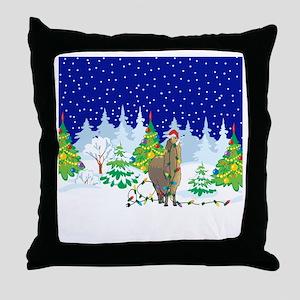 Christmas Lights Alpaca Throw Pillow