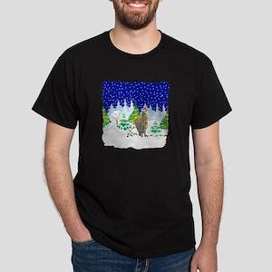Christmas Lights Alpaca Dark T-Shirt