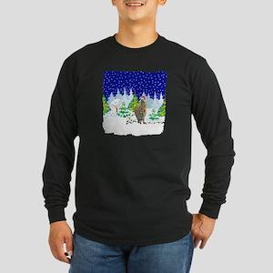 Christmas Lights Alpaca Long Sleeve Dark T-Shirt