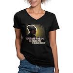 Sarah Palin Powerful Voice Women's V-Neck Dark T-S