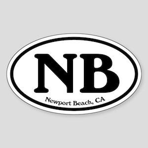 Newport Beach NB Euro Oval Oval Sticker