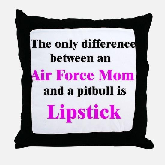 Air Force Mom Pitbull Lipstick Throw Pillow