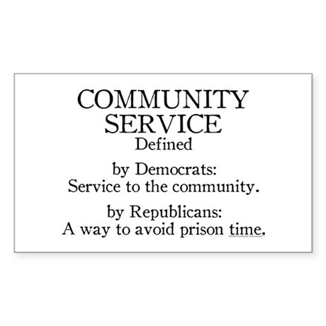 Community Service Defined Rectangle Sticker