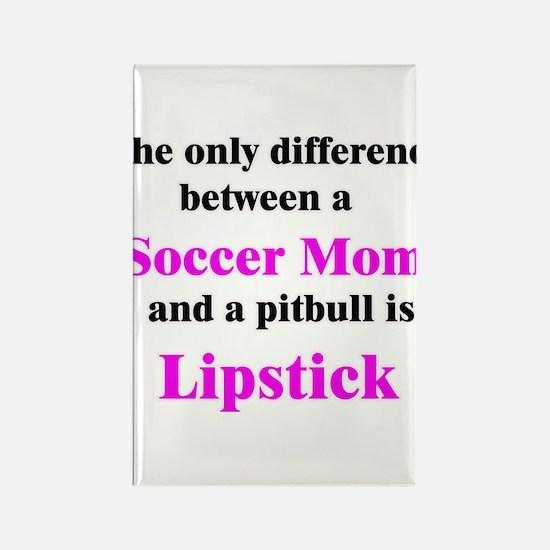 Soccer Mom Pitbull Lipstick Rectangle Magnet