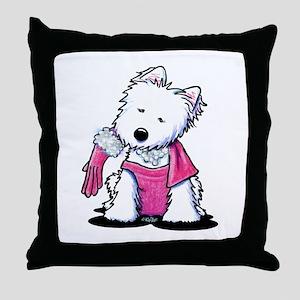 Material Girl Westie Throw Pillow