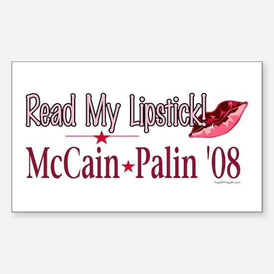 McCain Palin Read My Lipstick Rectangle Decal