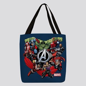 avengers group shower curtain Polyester Tote Bag