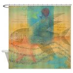 Vintage Mermaid Fish Shower Curtain