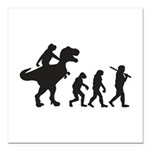 Evolution of Man and T Rex Square Car Magnet 3