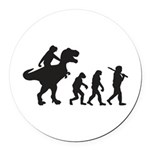 Evolution of Man and T Rex Round Car Magnet