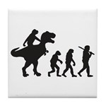 Evolution of Man and T Rex Tile Coaster