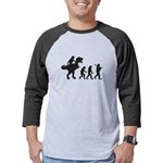 Evolution of Man and T Rex Mens Baseball Tee