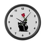 Black Cat and Rose Large Wall Clock