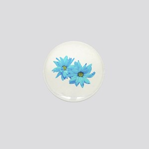 Two Blue Flowers Mini Button