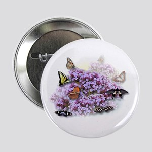 Tiger Swallowtail Butterfly & Lilacs Button