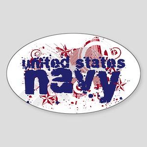 Navy Splat Oval Sticker