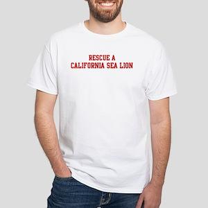 Rescue California Sea Lion White T-Shirt