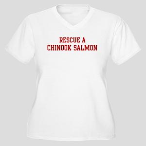 Rescue Chinook Salmon Women's Plus Size V-Neck T-S