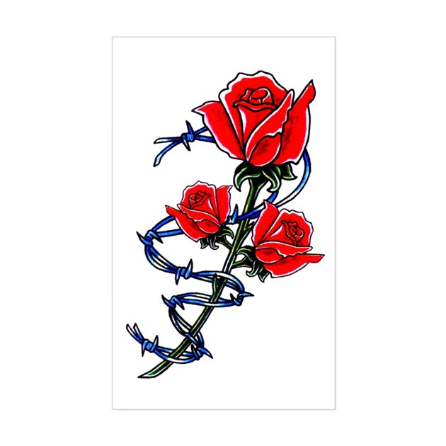 Barbed Wire Rose Tattoo: Barbed Wire Rose Tattoo Rectangle Decal By TattooArtShirts