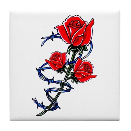 Barbed Wire Rose Tattoo Tile Coaster By Tattooartshirts