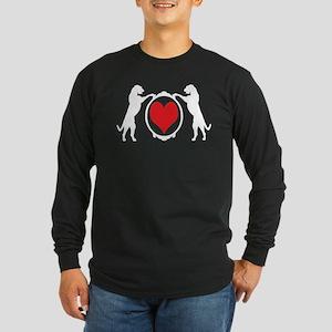 Tall Wolfhounds & Heart Long Sleeve Dark T-Shirt