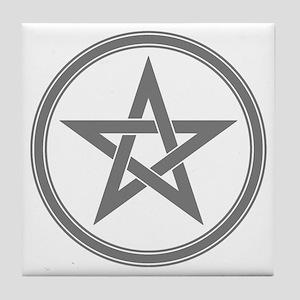 Grey Pentagram Tile Coaster