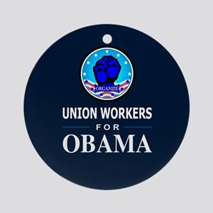 Union Workers Obama Ornament (Round)