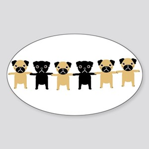 StringOPugs Oval Sticker