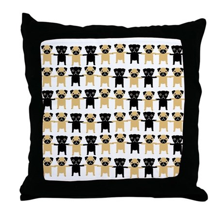 StringOPugs Throw Pillow