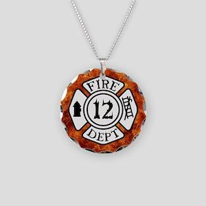 FIRE DEPT. 12 Necklace Circle Charm