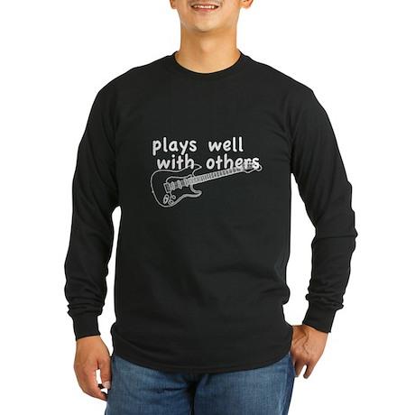 Plays Well (Guitar) Long Sleeve Dark T-Shirt