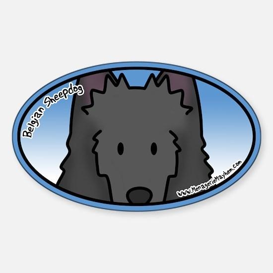 Anime Belgian Sheepdog Oval Decal