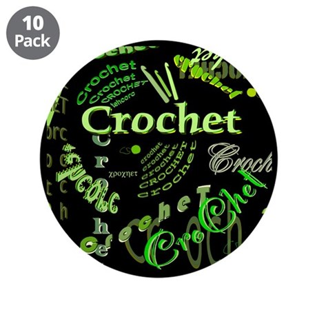 "Crochet Green 3.5"" Button (10 pack)"
